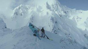Windsurfing Down a Snowy Mountain
