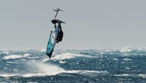 Foil windsurfing with 50 knots wind